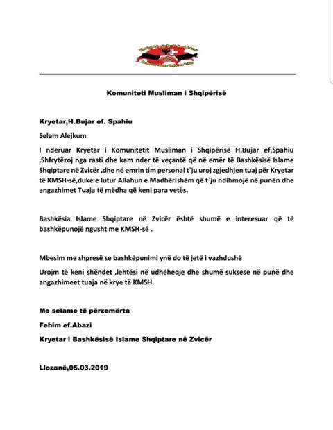 Kryetari Spahiu merr urime nga Bashkësia Islame Shqiptare në Zvicër